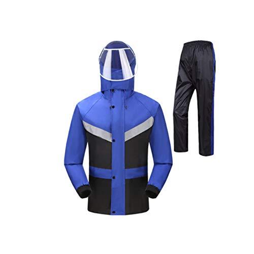 LSXLSD Impermeabile Doppio Impermeabile Impermeabile del Vestito, Fibra di Poliestere, Impermeabile Multiuso Riutilizzabile (Color : Blue Plus Black, Size : XXL)