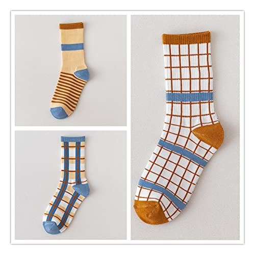 Decorel 3 Pares/Pack Crew Calcetines Mujeres Rayas Grid y Dot Mujer Calcetines Algodón (Color : 3 pairs-10, Size : Size 35-39)