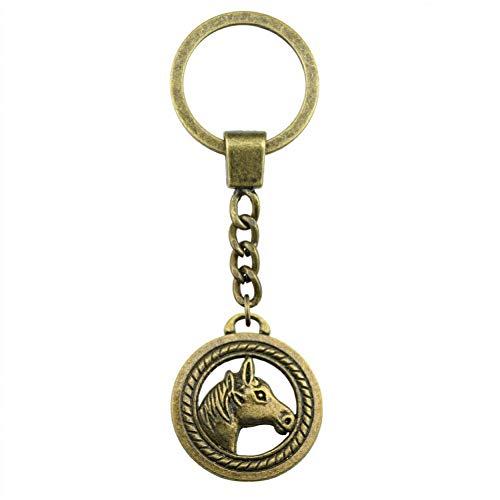 N/ A Mode heren sieraden sleutelhanger DIY etui metalen ketting dubbelzijdig paard 25 mm geschenk kleur brons