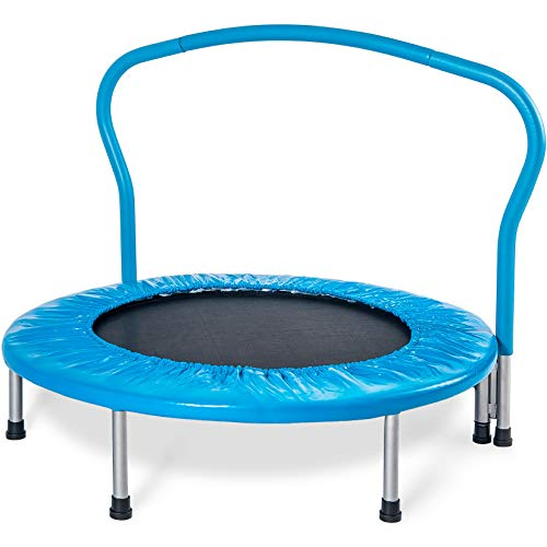 Merax 36' Kid's Mini Exercise Trampoline Portable Trampoline with Handrail and Padded Cover (Blue2019)