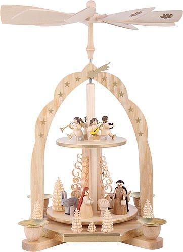 German christmas pyramid Nativity scene, 2-tier, height 31 cm / 12 inch, natural, original Erzgebirge by Richard Glaesser Seiffen