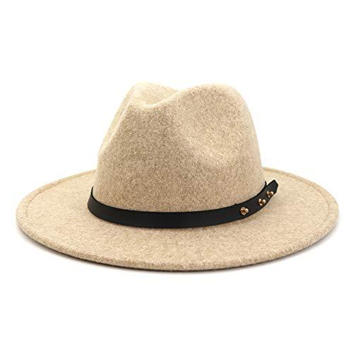 MAATCHH Sombrero de Copa para Mujer Sombrero de Bolos Sombrero Grande Sombrero de Moda Sombrero de Lana Sombrero de Jazz Sombrero de Lana para Adultos (Color : Beige, Size : One Size)