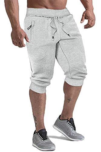 KEFITEVD Jogging Shorts Men with Pockets Running Short Pants 3/4 Athletic Pants Mens Elastic Waist Short Sport Pants Gray