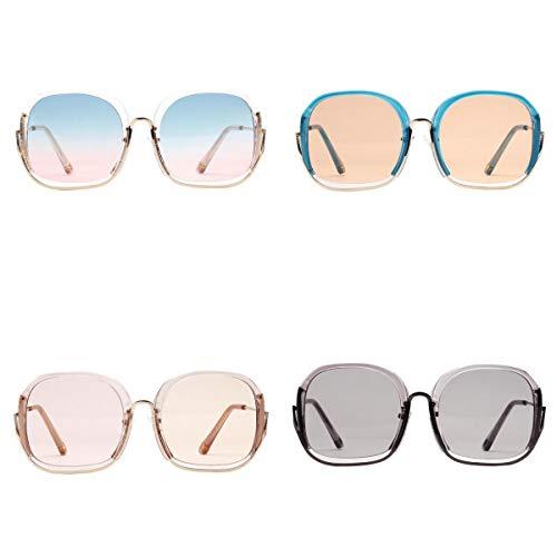 harayaa Gafas de Sol Polarizadas Cuadradas Estilo Hippie Redondas de 4 Piezas para Hombres Y