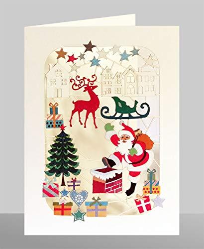 FOREVER Christmas Laser Cut Card Greeting Card Santa Claus Chimney 17 x 12 cm