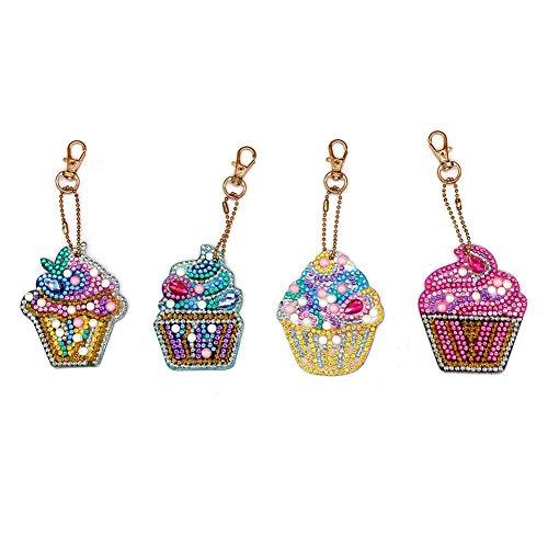 4pcs DIY Keychain Diamond Painting Cake Ice Cream Key Ring Pendant Gift