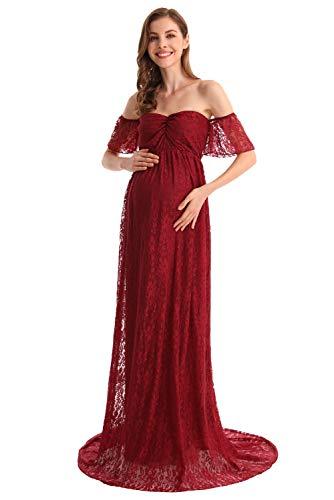 MYRISAM Women Bohemian Maternity Off Shoulder Ruffle Sleeve Lace Wedding Dress Photography Maxi Baby Shower Photoshoot Gown Burgundy S