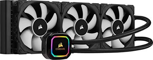 Corsair iCUE H150i RGB PRO XT CPU-Flüssigkeitskühlung (360-mm-Radiator, Drei 120-mm Corsair ML PWM-Lüfter, 400-2.400 RPM, Dynamischer Multi-Zone-RGB-Pumpenkopf, Einfach Einzubauen) Schwarz