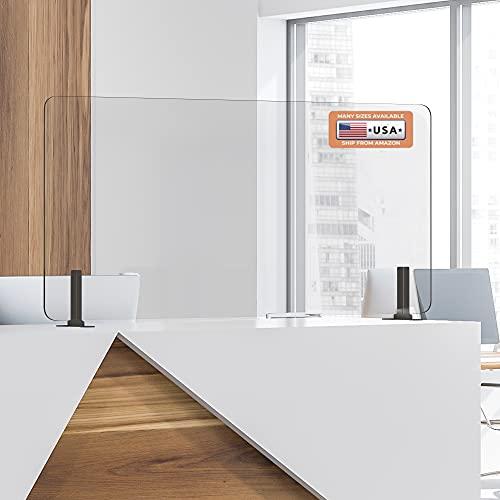GUARDMATE   Premium Plexiglass Shield Commercial Grade Sneeze Guard   Acrylic Divider Portable Plastic Barrier Shield Reception Desk Cashier Checkout Counter (48' Wide x 24' Tall)