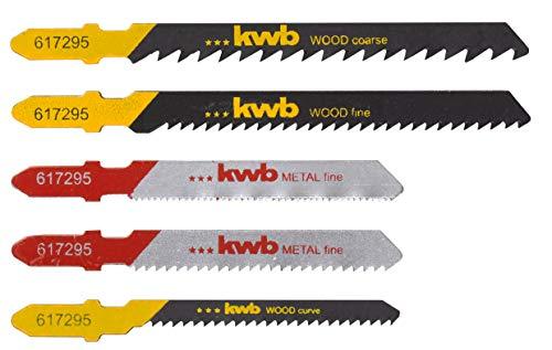 kwb 617295 5-teiliges Kombi-Set (HSS und HCS Sägeblätter) für grobe, Kurvenschnitte in Holz und feine Schnitte in Metall mit T-Schaft S-20 / Einnockenschaft