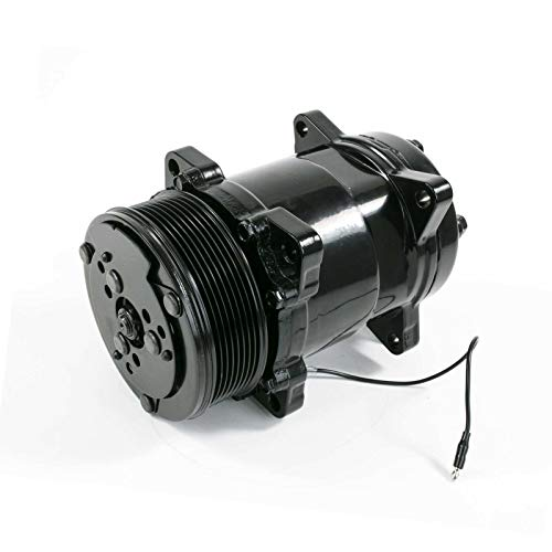 A-Team Performance Sanden Style Compressor SD-508 with 7 Groove Serpentine Belt Pulley SD5H14 Black