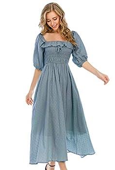 R.Vivimos Women Summer Half Sleeve Cotton Ruffled Vintage Elegant Backless A Line Flowy Long Dresses  Large Haze Blue-1
