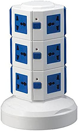 SunCaptor Protector Power Strip with 10 Outlets and 4 USB Ports 3 Meters Extension Cord (3 Levels, Blue)