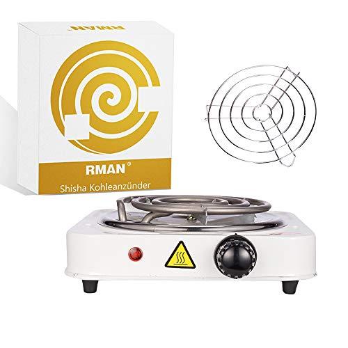 RMAN® 1000W Shisha Elektrischer Kohleanzünder Kohlebrenner Kochplatte für Wasserpfeife Barbecue Kohle - Weiß