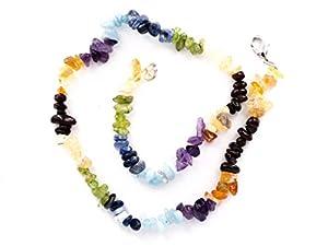 Taddart Minerals - Bunte Splitter Halskette Chakra aus Sieben Edelsteinen mit 45cm Länge - handgefertigt