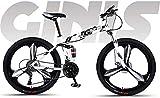 Ligero, Soft Tail Bicicleta plegable 24 pulgadas Montaña, Estudiante adolescente Ciudad camino de la bicicleta, doble freno de disco bicis de nieve Beach, ruedas de aleación de magnesio integrado Liqu