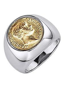 Diemer Gold Herrenring mit Münze Silberfarben