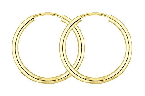 Edelweiß Gold Ohrringe, Kleine Creolen aus 585er (14k) Gelbgold, Außendurchmesser 20mm, Breite 2mm, Echtgold Ohrringe Damen