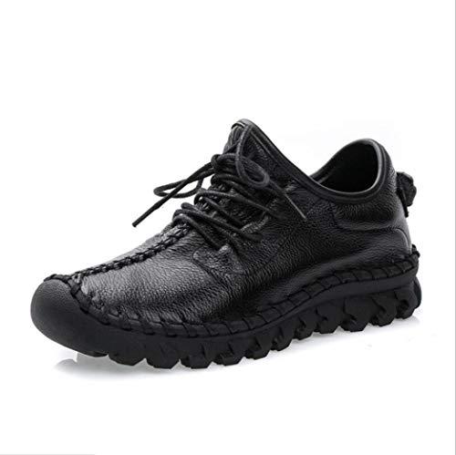 Zapatos Casuales de Mujer de Cuero de Color sólido PU de Parte Superior con Cordones Suaves Antideslizantes Patchwork Flat Summer Fashion Sneakers