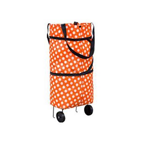 Tragbarer Supermarkt-Einkaufswagen Lebensmittelgeschäft-Einkaufswagen kleiner Laufkatzenzugwagen faltbare Einkaufstasche Einkaufstasche Wagen-Ablagekorb des alten Mannes grasgrün-orangewhitedots