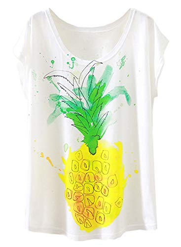 Doballa Women's Floral Crown Garland Flamingo Print Short Sleeve T-Shirt Cute Tops (XL, Pineapple)