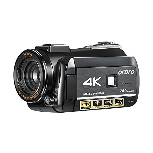 Videocámara 4K, cámara de vídeo Digital Ordro 4K Ultra-HD/videocámara con visión Nocturna por Infrarrojos 24MP WiFi 60 fps por Express Panda®