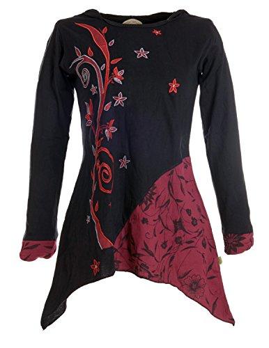 Vishes - Alternative Bekleidung – Mit Blumen bestickte Lagenlook Tunika mit Zipfelkapuze schwarz 36