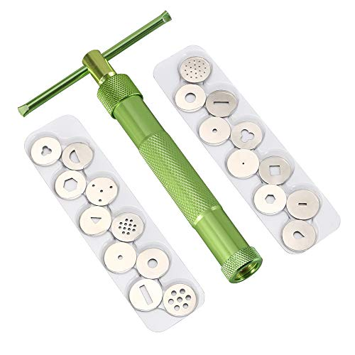 Vicloon Extrusora de Arcilla, Extrusora Fondant con 20 Moldes para Decoración de Pasteles, Verde