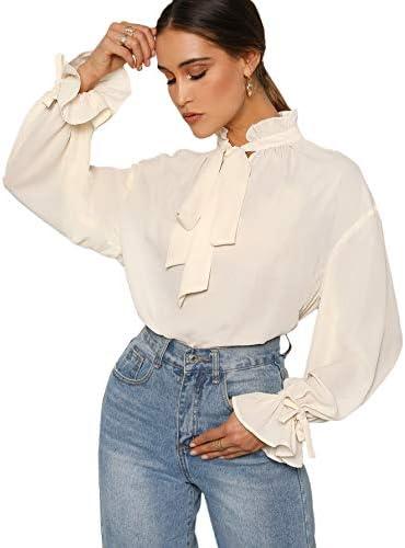 Romwe Women s Elegant Vintage Bow Tie Ruffle Mock Neck Lantern Sleeve Working Blouse Tops Shirt product image