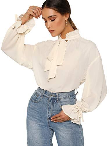 Romwe Women's Elegant Vintage Bow Tie Ruffle Mock Neck Lantern Sleeve Working Blouse Tops Shirt White Medium