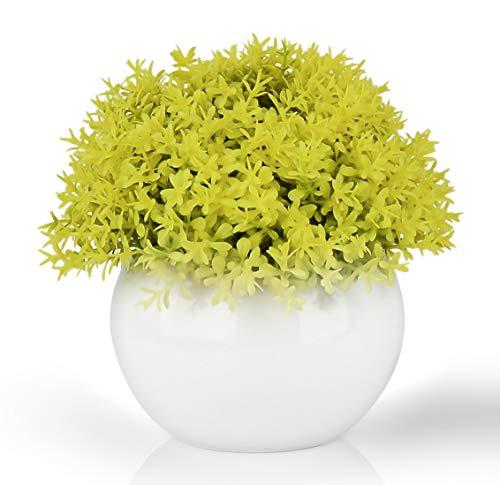 Mini Artificial Plant in White Ceramic Pot   Decorative Faux Plant for Home/Office Decor   Small Potted Topiary   Farmhouse Decor Accent   Desk/Kitchen/Bathroom/Shelf Fake Plant (Yellow)