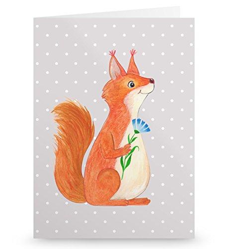 Mr. & Mrs. Panda Glückwunschkarte, Geburtstagskarte, Grußkarte Eichhörnchen Blume - Farbe Grau Pastell