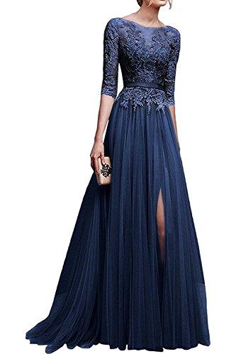 MisShow Hochwertig Damen langes Abendkleid Partykleider CocktailKleid Spitzenkleid Tuell 3/4 Arm Gr.32-46
