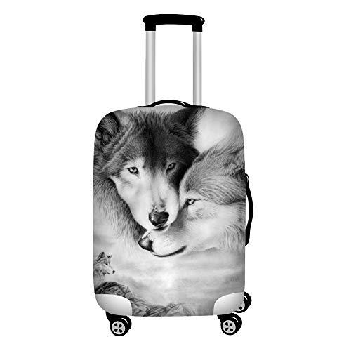 Agroupdream 3D Wolf Design Travel Suitcase Protective Cover 18 19 20 21 Inch Suitcase Protective Cover High Elastic Spandex Small