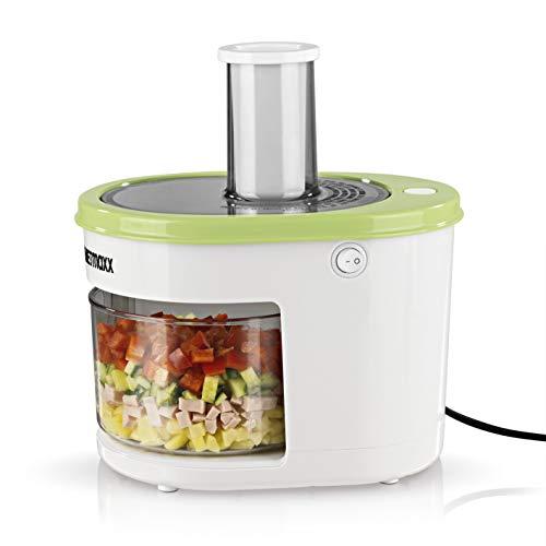 GOURMETmaxx Spiralschneider Elektrisch | 1,5 Liter Gemüseschneider mit 4 Einsätzen, Edelstahlklingen | Transparenter Sammelbehälter [120 Watt]