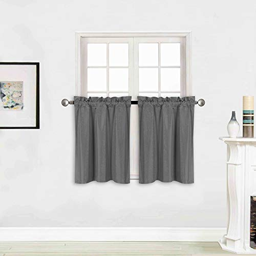 """Better Home Style 100% Blackout 2 Tiers Window Treatment CurtainInsulated Drapes Short Panels for Kitchen Bathroom Basement RV Camper or ANY Small Window M3024 (Charcoal, 2 Panels 28""""W X 24""""L Each)"""