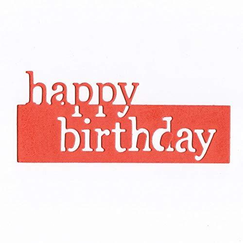 WOZOW Scrapbooking Stanzschablone Süß Schablonen Prägeschablonen Stanzmaschine Stanzen Stanzformen, Zubehör für Sizzix Big Shot und andere Prägemaschine (I Happy Birthday)
