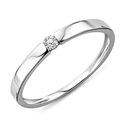 MioreAnillo de Compromiso de Oro Blanco de 9K (375) con Diamante de 0.05 ct para Mujer