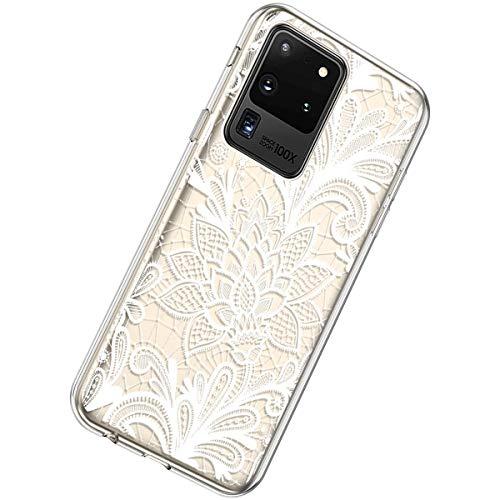 Herbests Kompatibel mit Samsung Galaxy S20 Ultra Hülle Silikon Weich TPU Handyhülle Durchsichtige Schutzhülle Niedlich Muster Transparent Ultradünn Kristall Klar Handyhülle,Weiße Rose