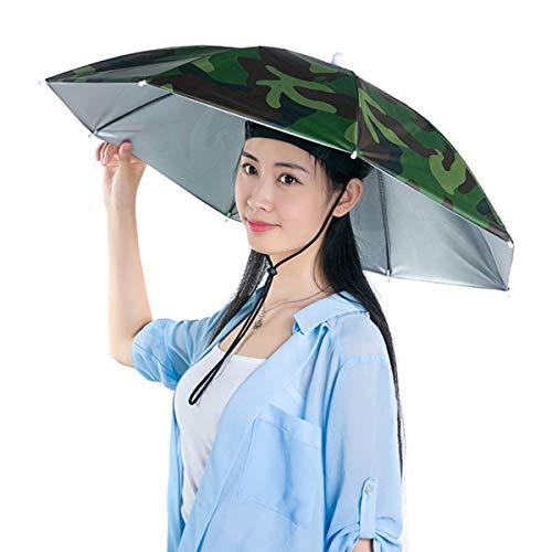 Soapow Sombrero de paraguas de pesca 27. 2 pulgadas plegable impermeable resistente a los rayos UV sombrero de pesca manos libres