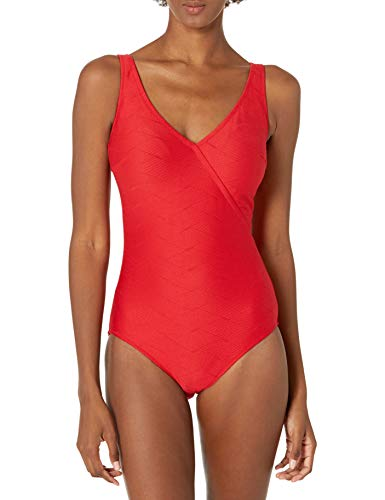 Gottex Women's Standard Textured Surplice One Piece Swimsuit, Aphrodite Red-Extra Coverage, 38