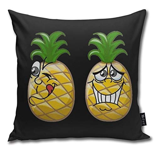 QUEMIN A Pair of Funny Pineapple Pillowcases Decorative Square Pillowcases for Living Room, Couch, Bed 18 x 18 inches