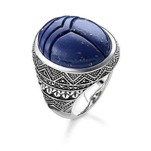 THOMAS SABO Unisex Ring Blauer Skarabäus 925er Sterlingsilber, Geschwärzt TR2205-534-1