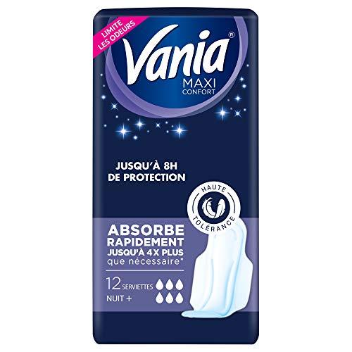 Vania Serviettes Hygiéniques, Maxi Confort, Nuit Plus, 12 Serviettes