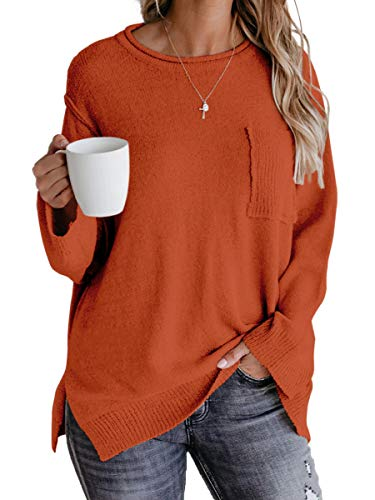 OFEEFAN Pullover Sweaters for Women Fall Sweater for Women Long Sleeve Orange Sweater L