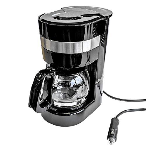 Kaffeemaschine 24V, 300W, 0.65L, Glaskanne, 6 Tassen, Anschluss Zigarettenanzünder - Reisekaffeemaschine für Lkw, Boot oder Camper
