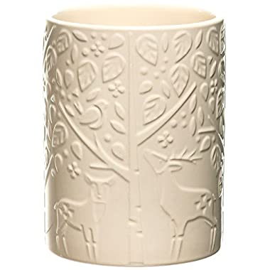 Mason Cash In the Forest Utensil Pot, Durable Stoneware Crock for Organizing Kitchen Tools, Intricate Embossed Design, 40-1/2-Fluid Ounces, Dishwasher Safe, Cream