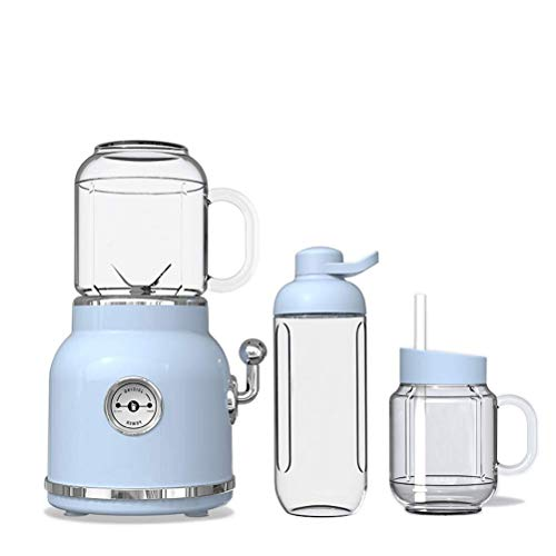 Blender Smoothie Maker, draagbare elektrische Juicer Blender, fruit Babyvoeding Milkshake Mixer, Vlees Grinder, Multifunctionele Retro Juice Maker Machine, Blue