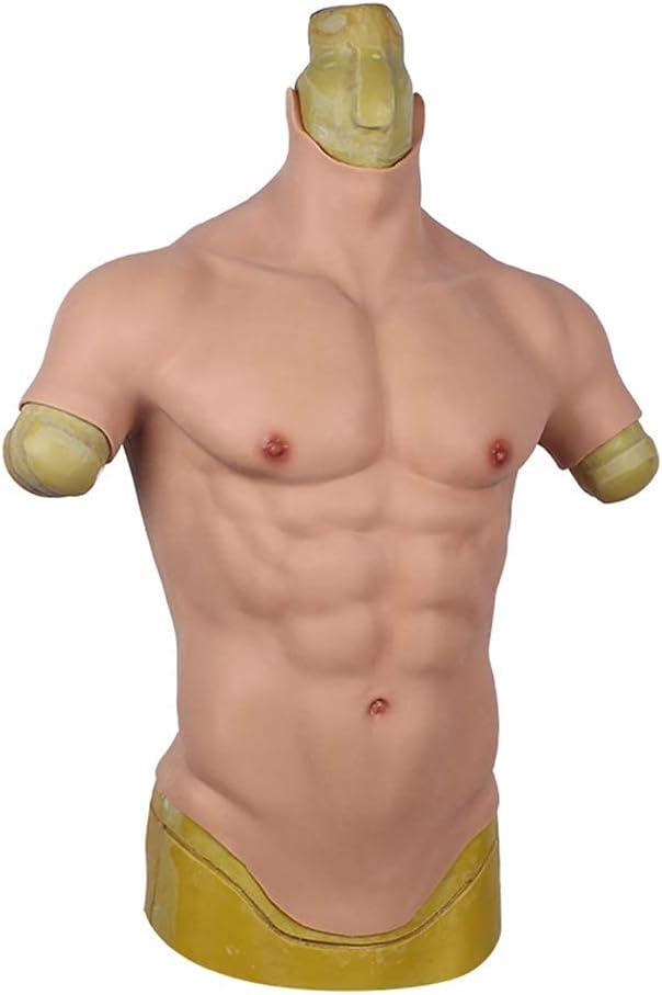 XBSXP Ropa de Personalidad para Hombres Muscular Masculino Realista Silicona Pecho Falso Músculo Abdominal Transfiguración transexual Cosplay Maquillaje Accesorios para Disfraces