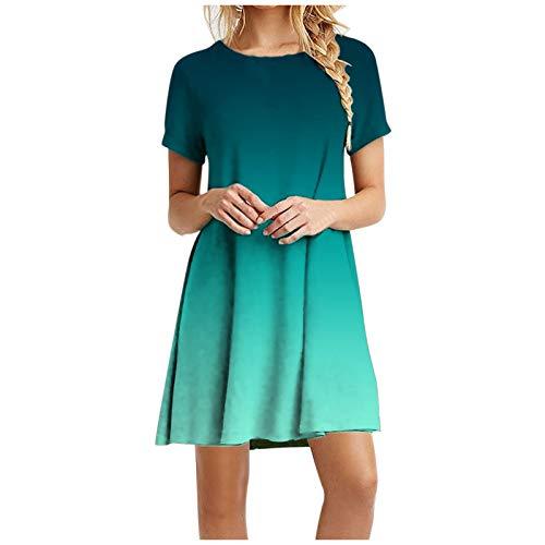 Moda Mujer Casual Manga Corta o-Cuello Color sólido señoras Mini Vestido Suelto(Verde-11,XL)